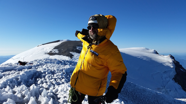 Mike Bromberg identifies 14,112' Liberty Cap on Mt. Rainier